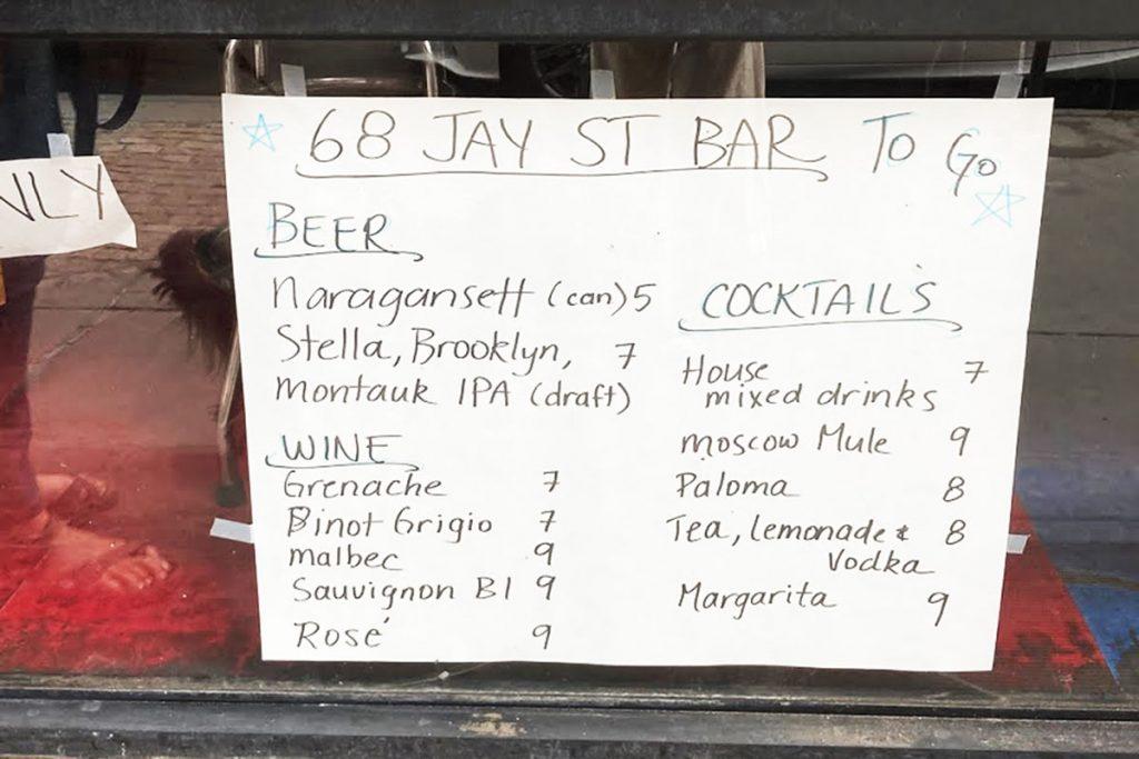 68 Jay St Bar Drink Menu